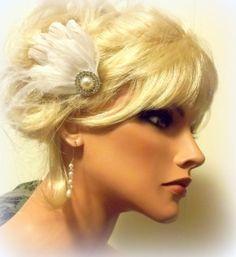 Bridal Hair Fascinator Feather Hair Clip Pearl by kathyjohnson3, $32.00