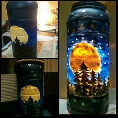 Night lamp made with a plastic container