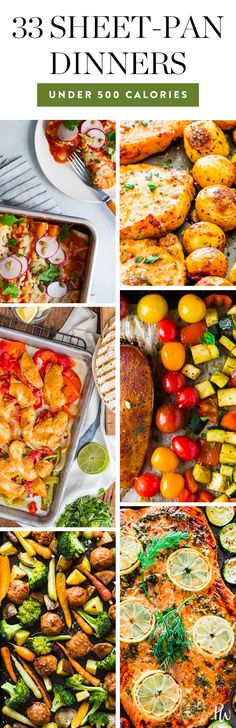 33 Amazing Sheet-Pan Dinners (That Are 500 Calories or Less Per Serving)#sheetpan #sheetpanmeals #healthyrecipes #lowcalorie #easydinners dinnerideas #healthy