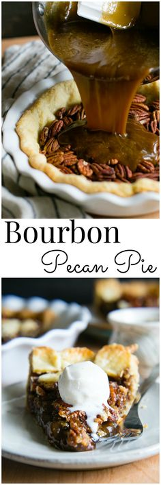 Southern Style Bourbon Pecan Pie is rich buttery and sweetened. Southern Style Bourbon Pecan Pie is rich buttery and sweetened with dark brown sugar and brown rice syrup cradled in an all butter buttermilk pastry Pecan Desserts, Just Desserts, Dessert Recipes, Pecan Recipes, Pecan Pies, Pie Recipes, Pecan Praline Cake, Bourbon Recipes, Peacon Pie Recipe