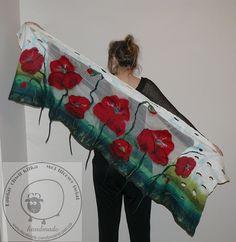 nuno felted,Felted shawl, wool, gift, fibre art,,green, spring,poppy poppies, silk chiffon