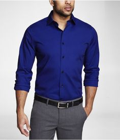FITTED 1MX SPREAD COLLAR SHIRT | Express