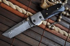 Want to own: Custom Made Damascus Folding Knife Tanto Blade Buffalo Horn handle