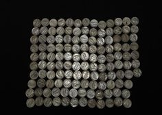 """Approx 120 Liberty dimes incl """"1941"""", """"1942"""", """"1945"""", """"1943"""", """"1929"""", """"1944"""", """"1940"""", """"1927"""", """"1926"""", """"1936"""", """"1937"""", """"1938"""", etc. Coins, Jewelry & Paper Money Auction ending 6/5/13"""