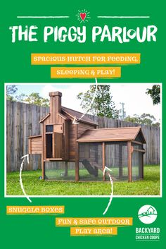 The Piggy Parlour is packed with great features designed to keep your Guinea Pigs happy and comfortable all year round! Find out more here, https://www.backyardchickencoops.com.au/other-enclosures/guinea-pig-hutches/piggy-parlour/ #loveyourguineapigs #guineapighutches #thepiggyparlour