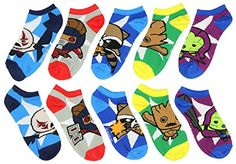 Marvel Guardians of the Galaxy Kawaii Characters No-Show Socks 5 pair @ niftywarehouse.com