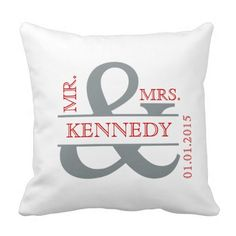 Personalized Custom Monogram keepsake wedding or anniversary pillow in grey and red text or typography on a white background on the front and red background on the back for square throw pillows and cushions.  Customize with the bride and groom family name and wedding date.  This stylish and chic, modern, trendy, contemporary design will enhance any home decor, living room, sofa, lounge, bedroom, office, or boat.  This pillow or cushion is a perfect gift weddings, anniversaries, bride to be…