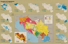 Maps showing the distribution of the different ethnic groups in Yugoslavia in 1981.