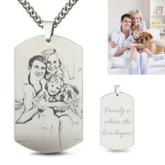 Font:Wear your favorite person or pet close to your heart with this lovely photo pendant necklace. Personalized Photo Necklace and Charm with Matching Gift Tin Personalized Jewelry for Mothers Best Friends Couples. Mens Silver Necklace, Men Necklace, Dog Tag Necklace, Silver Ring, Silver Necklaces, Silver Jewelry, Locket Necklace, Memorial Jewelry, Memorial Gifts