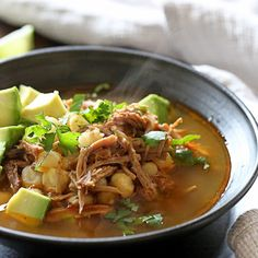 Pressure Cooker Pozole (Pork and Hominy Stew)