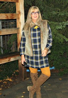 Blissdom Canada outfit,Old navy plaid tunic and pixie pants with a fur vest