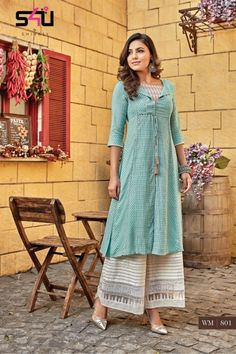 Give a vibrant touch to your attire, When Craft meets Fashion! by Shivali's Latest Collection Womaniya (Kurti with Palazzo) is ready to take its place in your wardrobe. Approx MRP: 1800 to 1900 Rs. Plain Kurti Designs, Simple Kurta Designs, Kurta Designs Women, Blouse Designs, Churidhar Designs, Kurti Sleeves Design, Kurta Neck Design, Khadi Kurta, Plazo Kurti