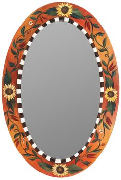 Oval Mirror – Sunflower and vines motif mirror in rich hues Mirror Crafts, Diy Mirror, Mirror Mosaic, Mosaic Art, Mirror Painting, Painting Frames, Photo Frame Crafts, Diy Wall Decor For Bedroom, Handmade Mirrors