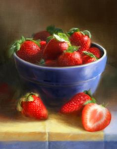 Strawberries On Yellow And Blue Painting, by Robert Papp
