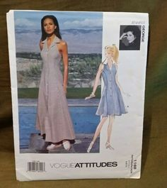 Vogue Attitudes Pattern 1168 6-10 Uncut #Vogue Vintage Vogue Patterns, Vogue Sewing Patterns, Simplicity Sewing Patterns, Evening Dress Patterns, Jumpsuit Pattern, House Dress, One Piece Dress, Vintage Skirt, Sun Dresses