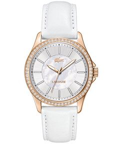 Lacoste Watch, Women's Sofia White Leather Strap 38mm 2000768 - Women's Watches - Jewelry & Watches - Macy's