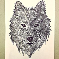 zentangle wolf drawing - Pesquisa do Google