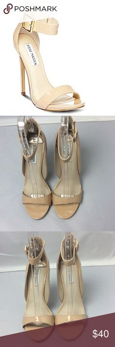 Steve Madden Nude Heels Gorgeous Steve Madden nude heels. Size is 8.5. Has an ankle strap and zips in the back. Worn once for a few hours so signs of wear are on the soles of the shoes. Heel height is 5 inches. Steve Madden Shoes Heels