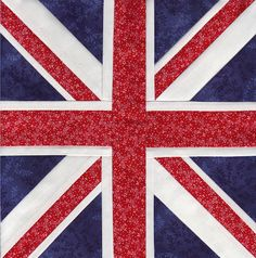 Union Jack by Soma Acharya, free paper pieced pattern, part of the Fandom In Stitches Doctor Who collection!