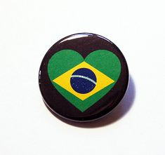 Brazil Pin Pinback buttons Lapel Pin I Love by KellysMagnets