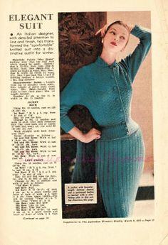 free vintage knitting pattern 1950s suit