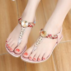 2016 New Summer women flat sandals Ladies Summer Bohemia Beach Flip Flops Shoes Casual Shoes Beach slippers 4 colour