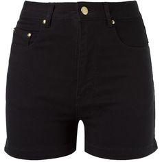 Amapô high waist denim shorts ($235) ❤ liked on Polyvore featuring shorts, black, jean shorts, short jean shorts, high waisted denim shorts, high-rise shorts and high-waisted denim shorts