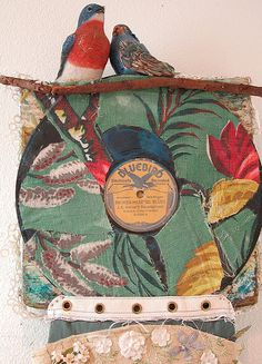 Bark Cloth BLUEBIRD Upcycled Found Objects ART mybonny gorsuch