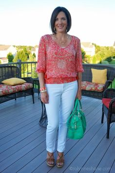 Grab your lightweight summer tops and pair them with some fresh, white pants! You'll be looking easy breezy and ultra chic all summer long!