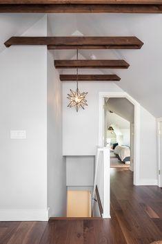 Exposed ceiling joists in attic and star pendant light Attic Master Bedroom, Attic Bedroom Designs, Attic Bathroom, Attic Design, Bedroom Ideas, Attic Renovation, Attic Remodel, Interior Design Advice, Attic Spaces