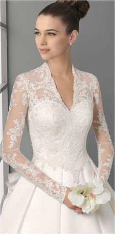 Lace Sleeves Wedding Dresses (100) #weddingdress