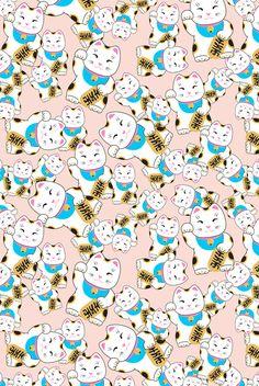 Maneki-neko good luck cat pattern Comforters by Marta Olga Klara - Queen: x Grey Cat Wallpaper, Cat Pattern Wallpaper, Cute Wallpaper Backgrounds, Cute Wallpapers, Iphone Wallpaper, Maneki Neko, Neko Cat, Cat Anatomy, Anatomy Art