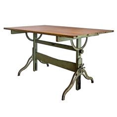 Drafting Table  USA  1920's  large cast iron and wood architectural desk by B.K. Elliott for Hamilton, machine green, adjustable