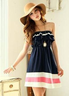 Graceful Waves Fringe Blue Pleated Summer Dress