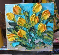 Impasto Original Painting Wall Decor Flowers Canvas Ironside