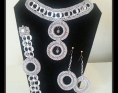 crochet poptab jewelry set