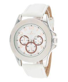 Love this White & Silver Leather-Strap Watch on #zulily! #zulilyfinds