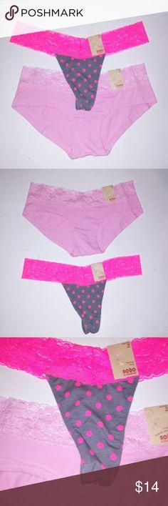 cc0e43a86e4a Medium Panties Set of 2 No Boundaries Panties Thong Hipster Pink Lace Trim  New With Tags *Bundle to Save No Boundaries Intimates & Sleepwear Panties