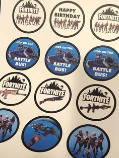 """This is a ready to print and cut out digital file of cupcake toppers for a Fortnite party. 2"""" diameter circles, 12 on a page and a variety of images to mix and match. Check out our Hershey bar wrappers:) *Copyright Disclaimer* Please note that these images are of no cost. You only"""