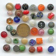1920/'s 24 Czech made Small Black Shank Buttons Vintage Buttons