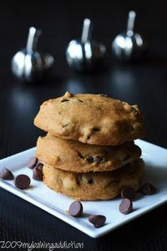Pumpkin Chocolate Chip Cookies - They would be the perfect dessert with a hot cup of tea on a chilly fall evening.