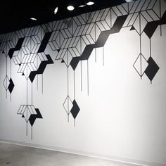 I believe this wall mural to be simplistic and uses shapes to create a visually appealing design. I believe my group can draw inspiration from this mural to create a simplistic wall mural design if we were to pick a simplistic theme. Simple Wall Paintings, Wall Painting Decor, Tape Wall Art, Diy Wall Art, Bedroom Wall Designs, Wall Art Designs, Paint Designs, Wall Paint Patterns, Geometric Artwork