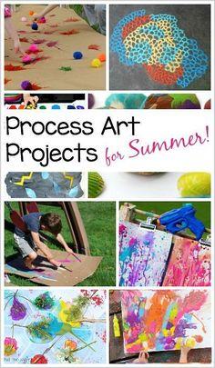 Process Art Projects for Summer: Splat art, squirt gun art, salt art, and more! #processart #artforkids #artideas