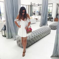Mimi Ikonn Ibiza Spain Style Holiday Vacation White Dress Preggo Style Mimi Ikonn pregnant