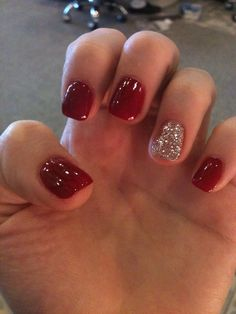 Holiday nails red shellac nails, red glitter nails, red and silver nails, red Christmas Gel Nails, Holiday Nails, Christmas Christmas, Silver Christmas, Christmas Ideas, Holiday Makeup, French Nails, French Manicures, Red Shellac Nails
