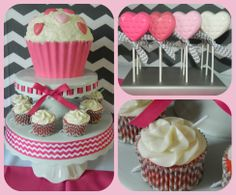 Giant Pink Cupcakes, Strawberry Chevron Cupids Arrow Cupcakes and Ombre Pink Heart Chocolate Lollipops at Chevron Valentine's Day Party