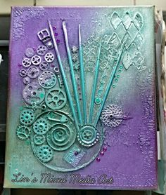 Lin's Mixed Media Art Work Turquoise and purple (sold)