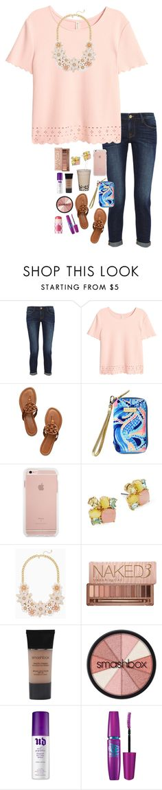 """""""Almost at 800!!!"""" by pandapeeper ❤ liked on Polyvore featuring Frame Denim, Tory Burch, Lilly Pulitzer, Kate Spade, Urban Decay, Smashbox, Maybelline and tarte"""