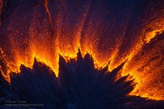 Lava spreads over a wide area from the apex of a breakout. By Bruce Omori