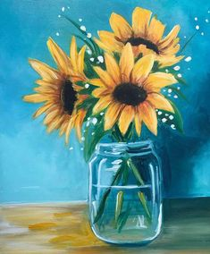 Sunflowers in a Glass! Saturday, October from 7 - View upcoming paint and sip classes in Glenview. Local artists guide you step-by-step through a painting while you enjoy wine and have fun with friends. Book your public or private party today! Sunflower Canvas Paintings, Cute Canvas Paintings, Canvas Painting Tutorials, Small Canvas Art, Acrylic Painting Flowers, Acrylic Painting Canvas, Paintings Of Sunflowers, How To Paint Sunflowers, Paint And Sip